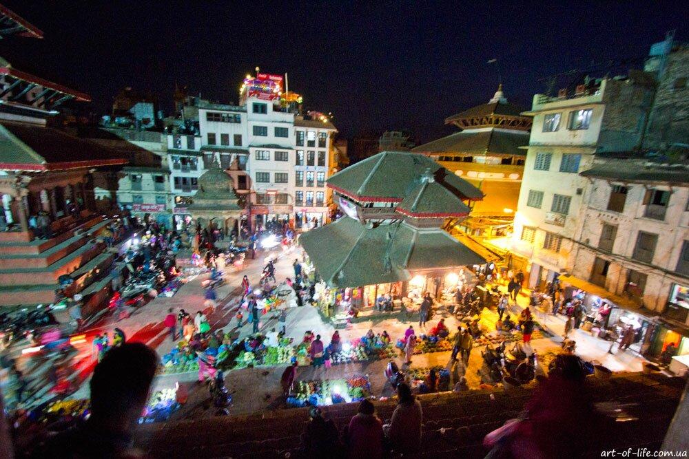 нічний Катманду, площа Дурбар